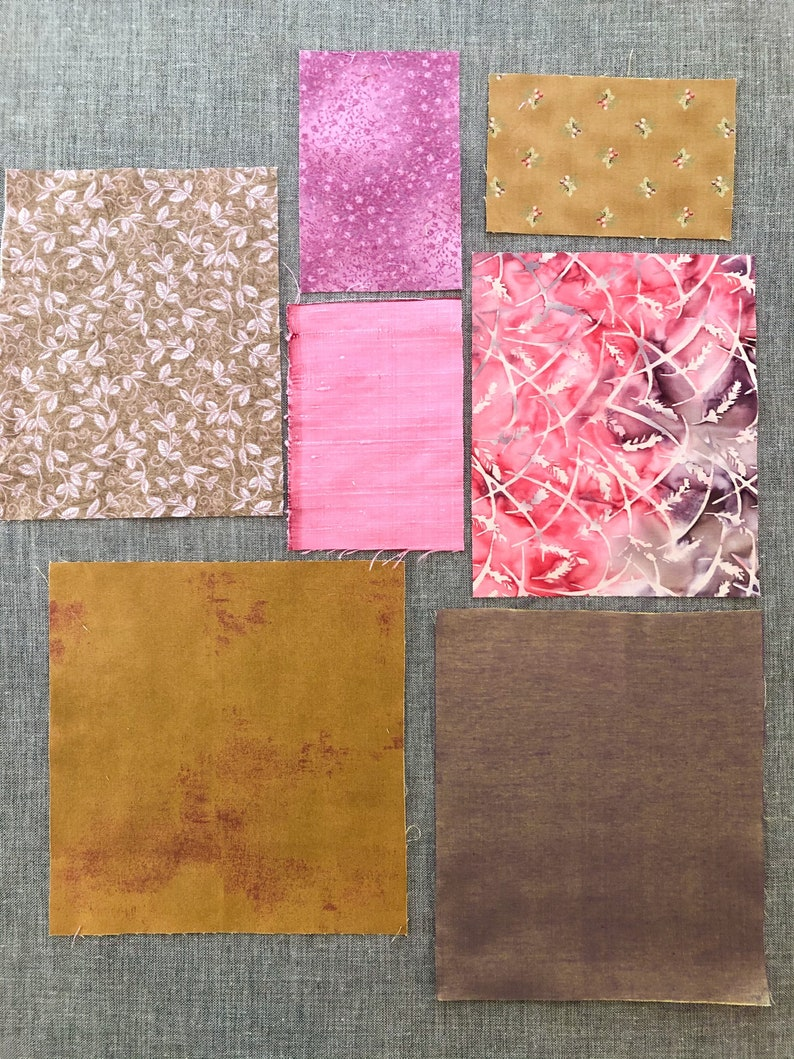 Mixed fabric textile pack Setting Sun on the Garden 7 fabric pieces inspiration pack textile art fabric bundle