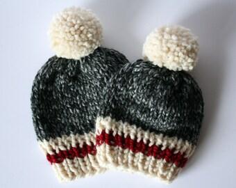 Sock monkey hat. Slouchy beanie. Oversized winter hat. Knit animal hat.  Winter beanie. Winter animal hat. Hat with pom pom. Women s beanie. c4863f04fea