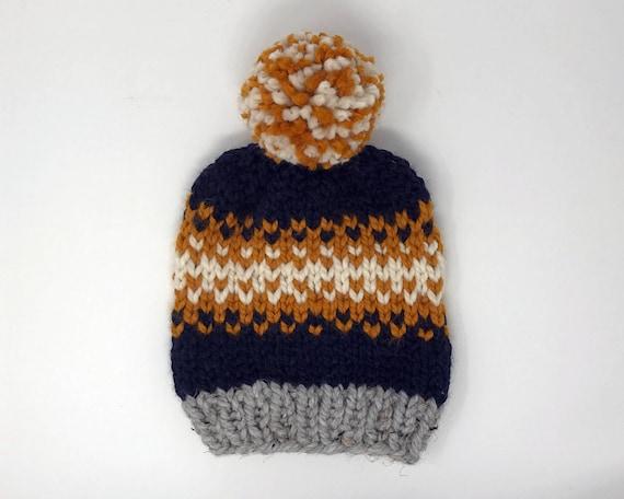 Navy winter hat. Slouchy hat. Pom pom beanie. Adult hat  17f5a562538