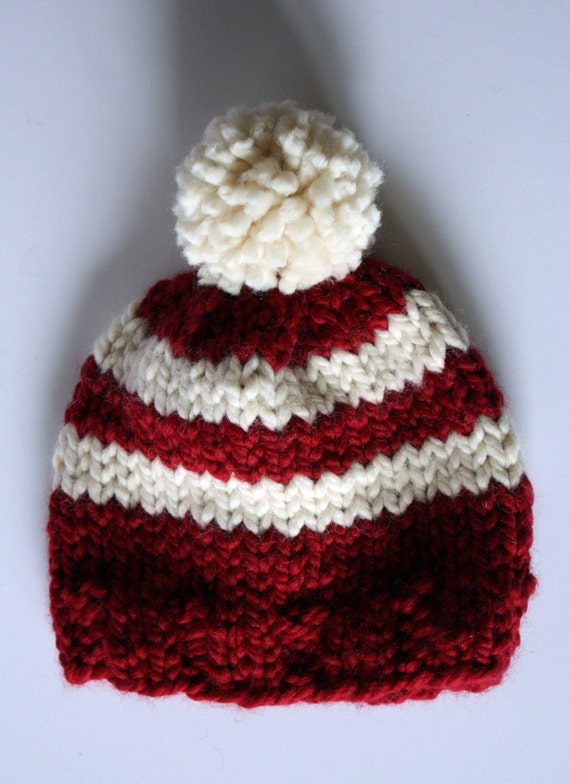 10565bd550c White and red striped hat. Toddler winter hat. Pom pom beanie.
