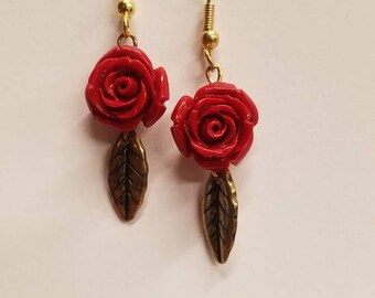 Beautiful red rose + gold leaf earrings