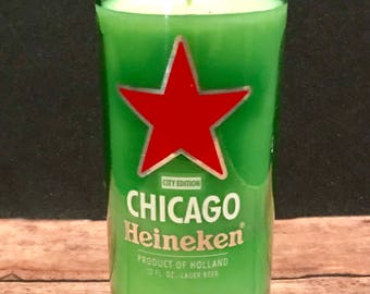 Special Chicago Heineken Bottle Candle/Recycled Bottle/Soy Wax