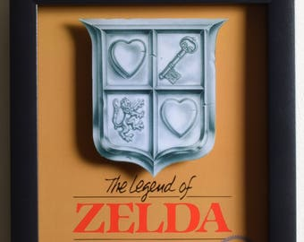 Legend of Zelda Art - Box Art - NES - Nintendo - 3D Shadow Box Glass Frame - 12x10 - Birthday Gift - Retro Decor