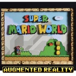 Super Mario World Shadow Box - Title Screen - SNES - Super Nintendo - 3D Shadow Box Glass Frame - 12x10 - Augmented Reality
