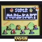 Super Mario Kart Shadow Box - Title Screen - SNES - Super Nintendo - 3D Shadow Box Glass Frame - 12x10 - Christmas Gift - Man Cave Decor
