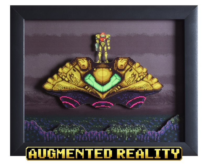 Super Metroid Shadowbox - The Gunship - SNES - Super Nintendo - 3D Shadow  Box Glass Frame - 12x10 - Birthday Gift - Augmented Reality