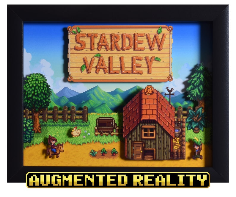 Stardew Valley Shadow Box - The Farm - PC - 3D Shadow Box Glass Frame -  12x10 - Christmas Gift - Pixel Artwork - Augmented Reality