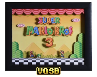 Super Mario All Stars Shadow Box - Super Mario Bros 3 - SNES - Super Nintendo - 3D Shadow Box Glass Frame - 12x10 - Christmas - Mario Art