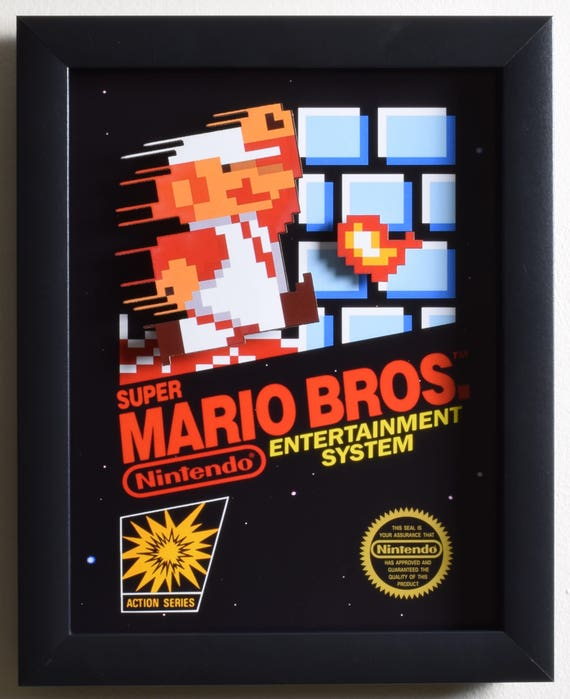 Super Mario Bros Shadowbox Box Art Nes Nintendo 3D  Etsy-3668