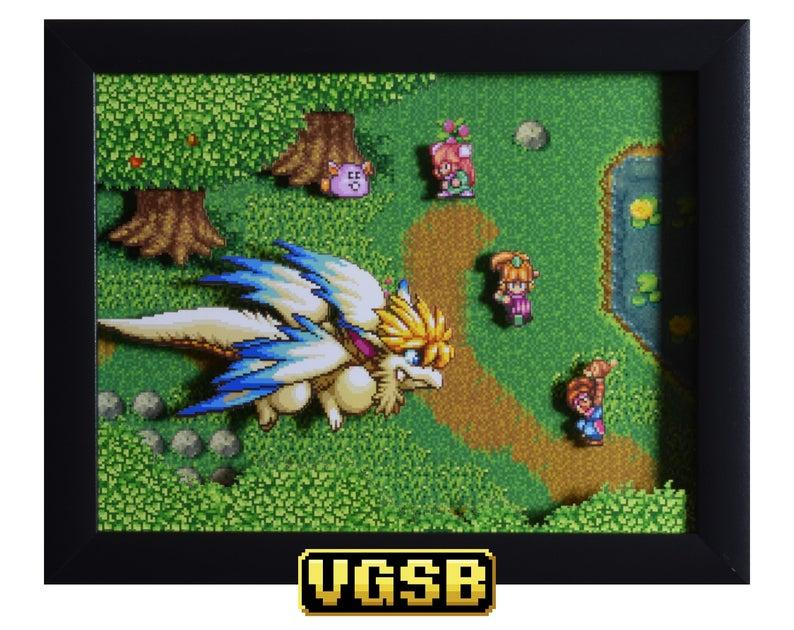 Secret of Mana Shadow Box  Flammie  SNES  Super Nintendo  image 0