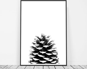 Affiche Scandinave, Black and White Print, Pine Cone Print, Scandinavian Print, Poster, Pine Cone Art, Nature Print, Nature Photography
