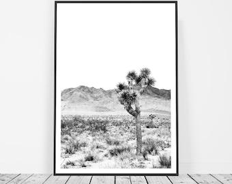 Boho Decor, Bohemian Decor, Black and White Print, Joshua Tree, Desert Wall Art, Desert Print, Desert Art, Californian Desert Photography