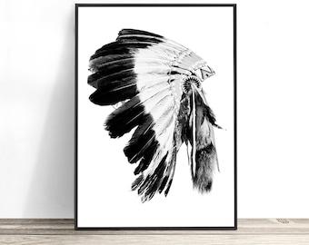 American Indian Headdress Print, Native American Wall Art, Tribal Art, Boho Wall Art, Native American Decor, Tribal Decor
