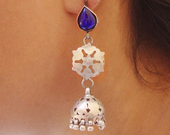 Vintage Look Tribal Blue Glass Hand Crafted Old Silver Ethnic Jhumka Dangle Earrings