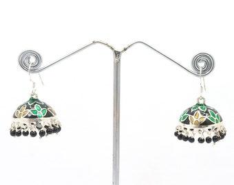 Handmade Tribal Indian Jhumka Earrings with black beads 925 Sterling Silver Jhumka Dangle Earrings with Enamel Meenakari work