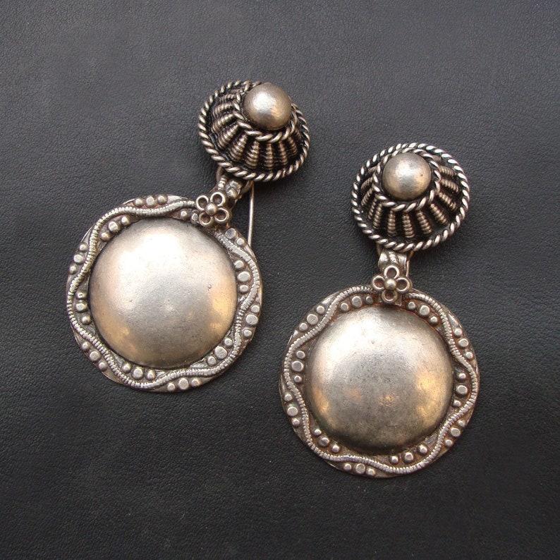 Wedding Gift,Ethnic Old Silver Vintage Look Tribal Handmade Antique Bohemian Style Stud Earrings