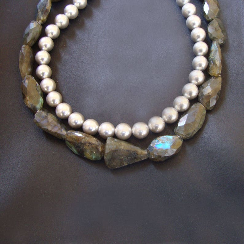 Natural Genuine Labradorite And Grey Pearl 925 Sterling Silver Stylish Modern Necklace Gorgeous Beaded Necklace Tumble Gift Necklace