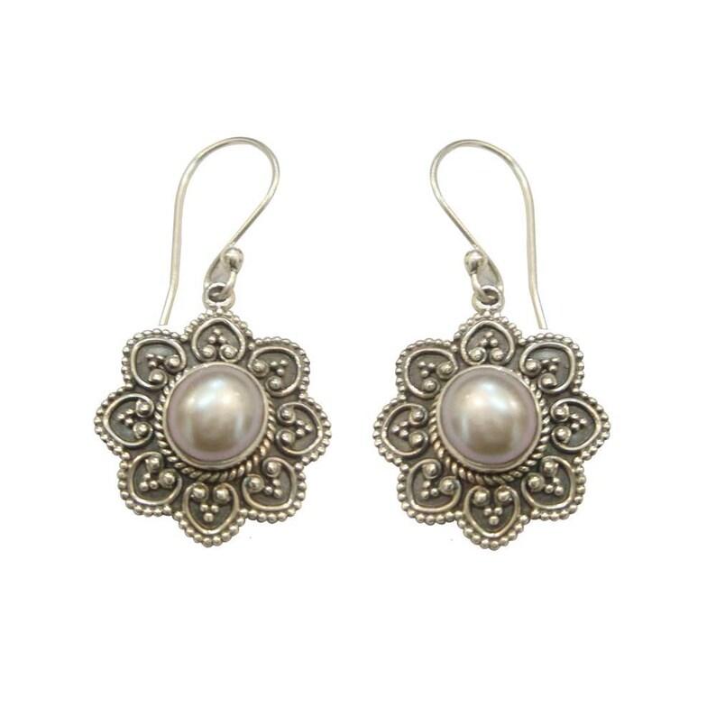 Wedding Gift,Stunning Pearl Handmade 925 Sterling Silver Dangle Drops Earrings For GIFT