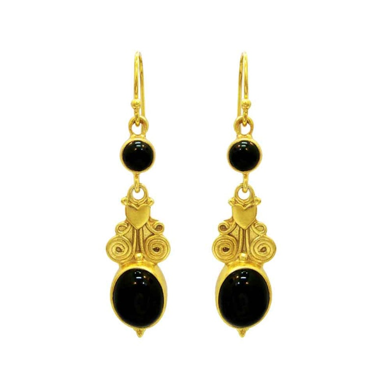 Black onyx agate gemstone dangle earrings necklace set Christmas gift for her silver plated elegant summer jewellery UK jewelry