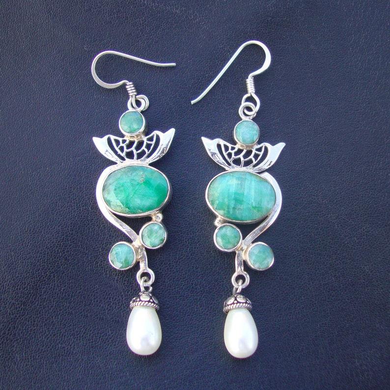 Wedding Gift,Beautiful 925 Sterling Silver Emerald Or Pearl Drops Girls Dangle Drops Earrings