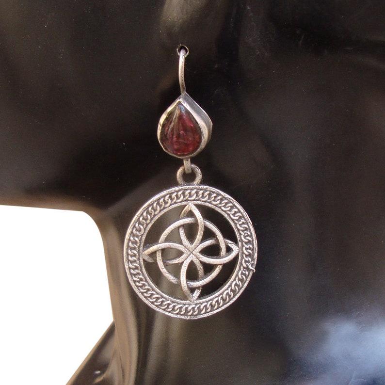 Wedding Gift,Vintage Look Purple Glass Old Silver Tribal Gypsy Handmade Ethnic Dangle Earrings
