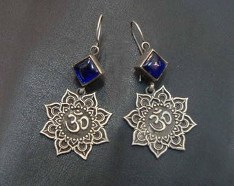 Vintage Antique Tribal Gypsy Blue Glass Hand Crafted Dangle Drops Earrings For GIFT