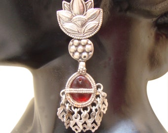 Antique Red Glass Old Silver Vintage Look Flower Design Handmade Stud Earrings For GIFT