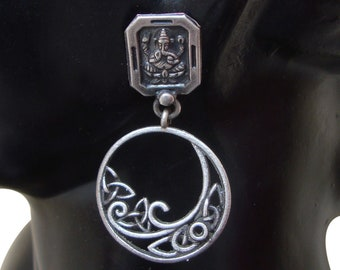 Amazing Antique Old Silver Vintage Look Indian Lord Ganesha Handmade Ethnic Stud Earrings