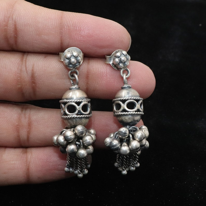 Vintage style 925 Sterling Silver Handmade Tribal antique boho Indian Earrings Necklace Set Jewellery