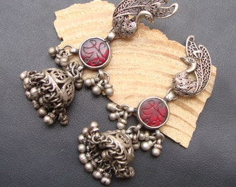 Stunning Red Glass Bird Design Hand Crafted Old Silver Stud Antique Earrings