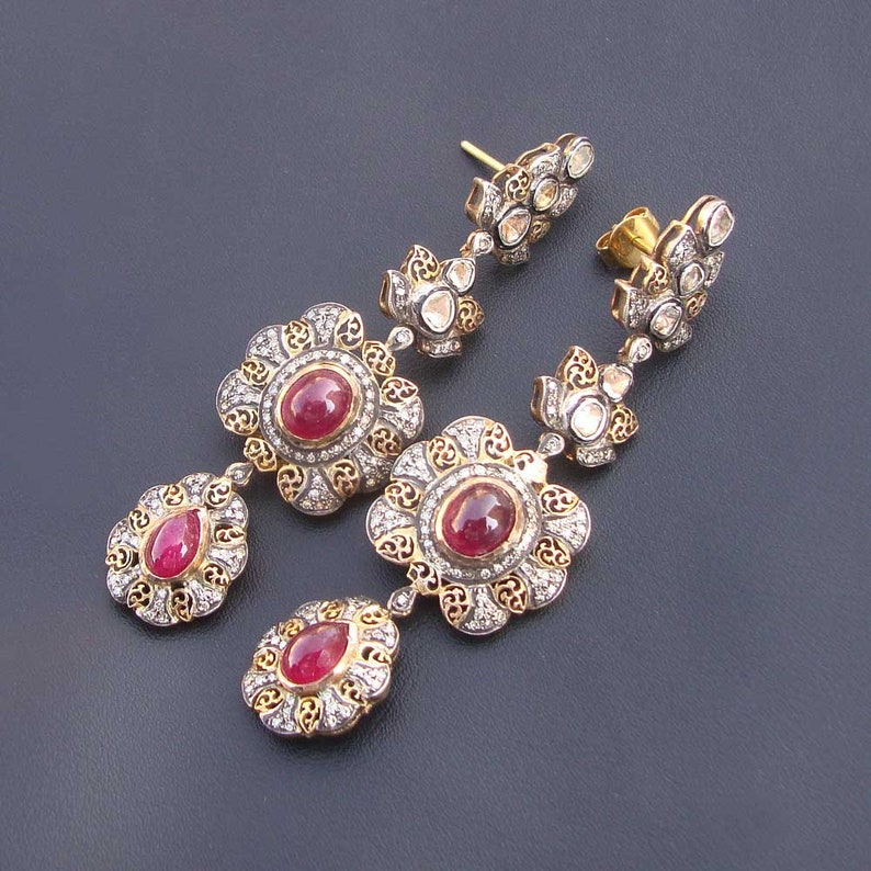 afaeed97da7ea Wedding Gift,Victorian Style Ruby Diamond Polki 14 Kt Gold Beautiful Stud  Earrings Jewelry