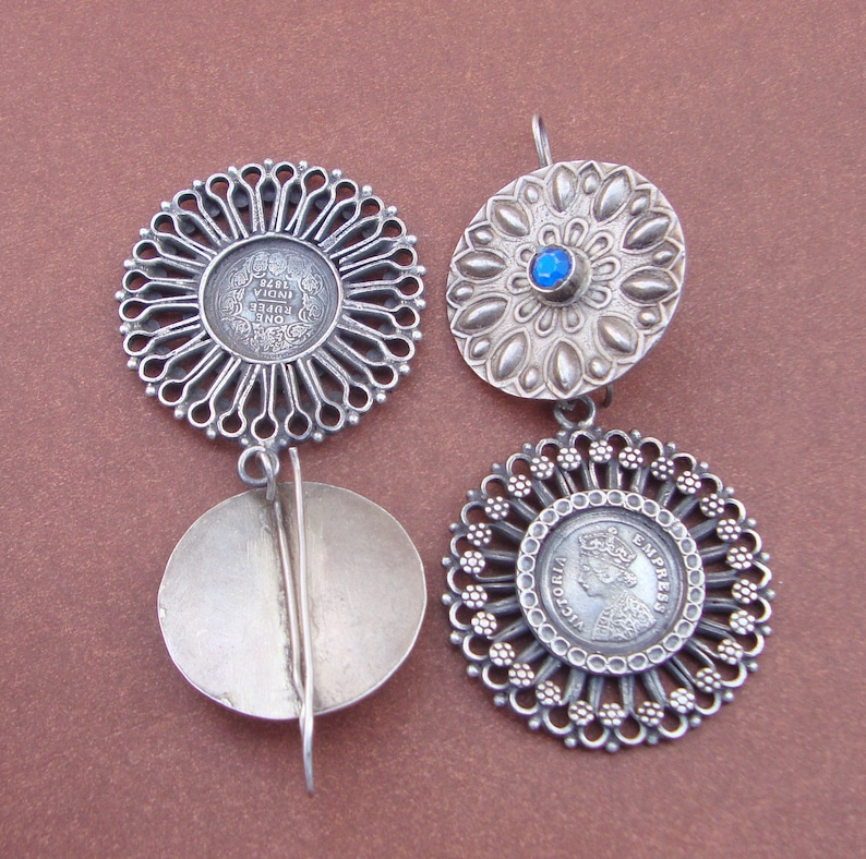 Wedding Gift,Blue Glass Tribal Old Silver Vintage Look Victorian Stud Dangle Earrings For GIFT