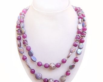 Stunning Multi Shade Pearl Or Quartz Handmade 925 Sterling Silver Beaded Necklace Jewelry