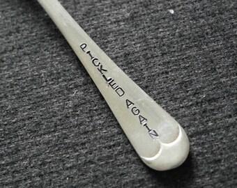 hand stamped cutlery fork pickle fork