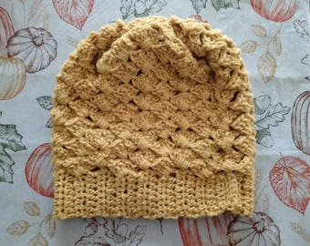 Crochet slouchy hat in mustard yellow
