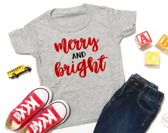 Merry And Bright - Awesome Christmas Gifts - Christmas Gift For Boys - Gift Ideas For Boys - Christmas Outfit - Christmas Shirt For Boys