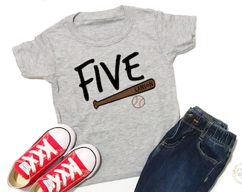 Personalized, 5th Birthday Shirt, Five, Boy Birthday Shirt, 5th Birthday, Birthday Shirt, Birthday Shirt Boy, 5 Birthday, Baseball Birthday