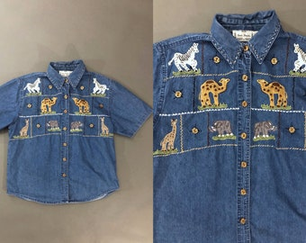 Vintage Japanese Zebra Embroidery Safari Print Blouse  Animal Print Blouse  Blue Blouse  Made in Japan  Size Large