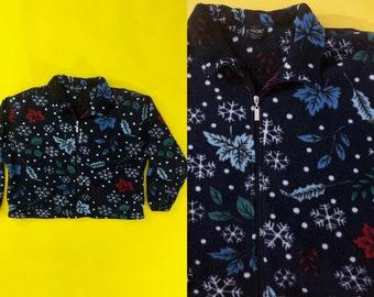 VTG 90s Snowflake and Leaf Fleece Jacket Half Zip Navy Red Blue White Sweatshirt Winter Floral 1990s Vintage XXL 2X