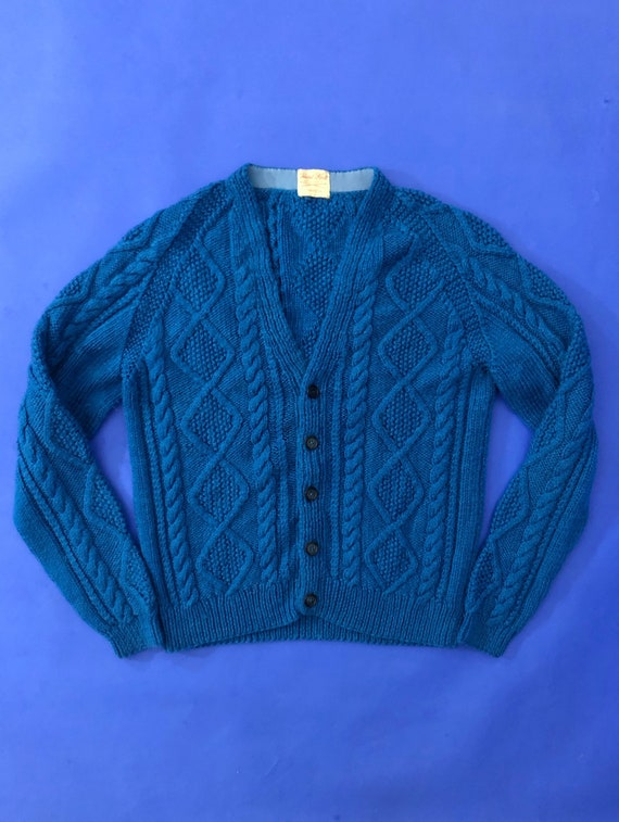 Vintage 1970s Turquoise Knit Cardigan Jumper