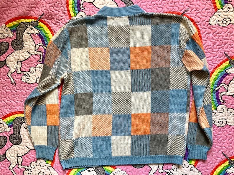 Vintage Blue Peach White Grey Long Sleeve Knit Sweater Retro Boho 1980s Large L 80s Colorblock Mock Neck Sweater Large