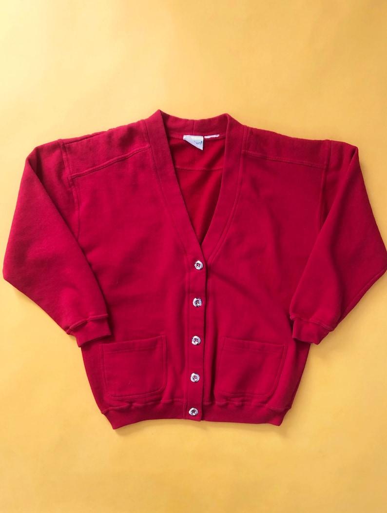 VTG 90s Red Cardigan Sweater Sweatshirt Bobbie Brooks 1990s Vintage Large L