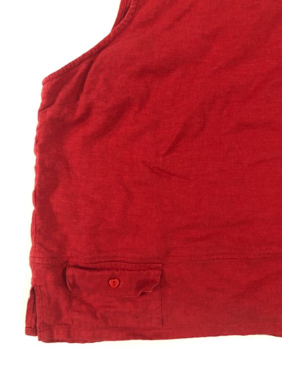 Y2K Red Linen Tank Top Plain T Shirt Pocket Tee C… - image 3