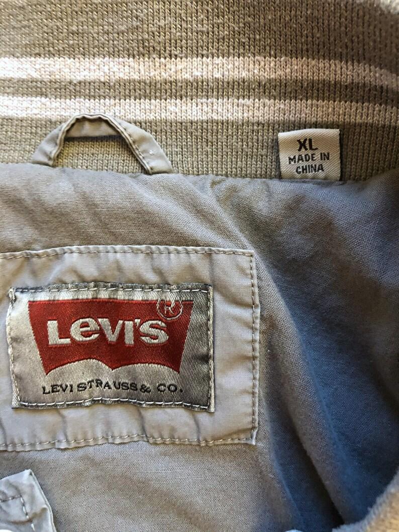 Y2K Levi\u2019s Gray Stripe Trim Snap Button Varsity Jacket Plain 2000s Extra Large XL