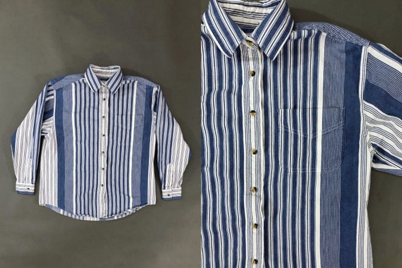 Vintage 90s Plus Size Abstract Striped Short Sleeve Button Up Shirt