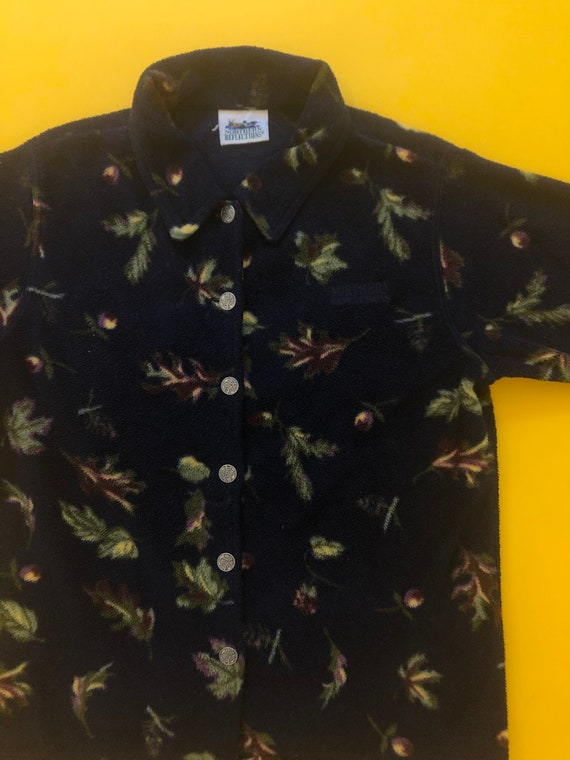 VTG 90s Autumn Leaf Printed Button Up Collared Fl… - image 2