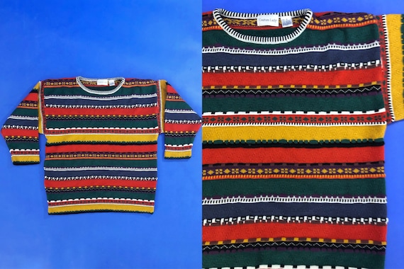100/% Cotton Size M Vintage 90s Multicolor Abstract Tropical Print Oversized Knit Short Sleeve Sweater