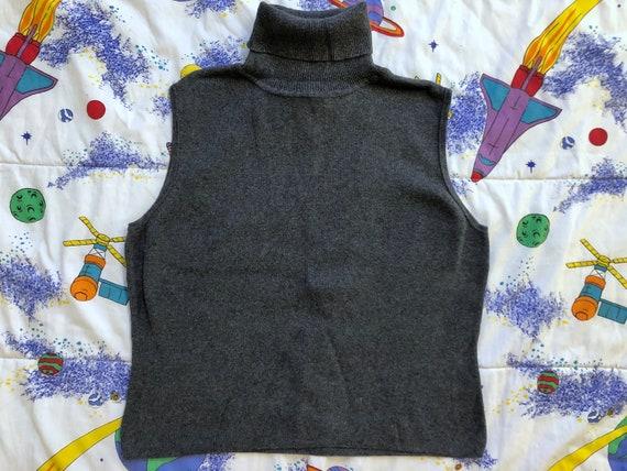VTG 90s Gray Sleeveless Turtleneck Ribbed Knit Swe
