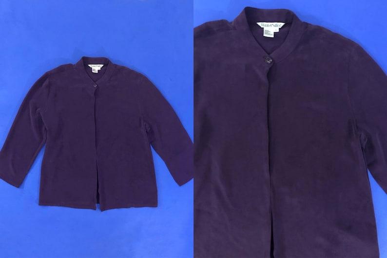 VTG 90s Purple Silk Blouse Long Sleeve Open Front Single Button Shirt 1990s Vintage Extra Large XL