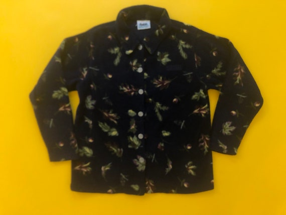 VTG 90s Autumn Leaf Printed Button Up Collared Fl… - image 1